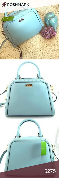 """❗SALE❗♠️Authentic Kate Spade Rocki Large Satchel🖤 ❗BRAND NEW❗ This beauty is robin egg blue and perfect for spring and summer! Gold Hardware, top zip closure. Dual leather handles with an approximate drop of 5"""". Also a strap to be worn as a cross body with a drop of 22""""! 😍 Interior features custom fabric lining with one zip closure and two slip pockets! NO TRADES AND PLEASE NO LOW BALLING 😘 Thanks for looking ❤ kate spade Bags Satchels"""