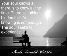 Your soul knows all there is to know all the time. There is nothing hidden to it. Yet knowing is not enough. The soul seeks to experience. Spiritual Words, Healing Words, Uplifting Quotes, Inspirational Quotes, Powerful Quotes, Neale Donald Walsch Quotes, Suffering Quotes, Soul Shine, Philosophy Quotes