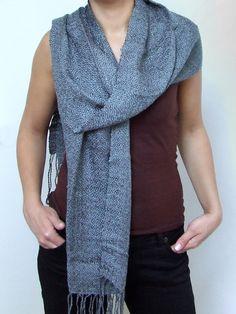 Gray scarf cotton viscose scarf fashion scarf hand woven scarf grey cotton scarf fashion gifts woman scarf handwoven cotton fringed shawl by HandweavingbyMima on Etsy