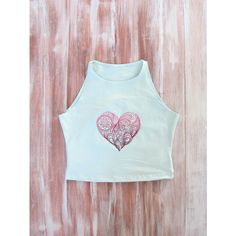 ZellyaDesigns Mint Crop Top With Embroidered Heart-Yoga Top-Workout... ($20) ❤ liked on Polyvore featuring tops, black, crop tops, women's clothing, sleeveless shirts, crop tank, yoga tank, yoga shirt and black shirt