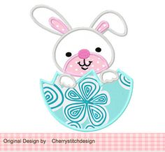 Ester bunny 02-Applique 4x4 5x7 6x10-Machine Embroidery Applique Design