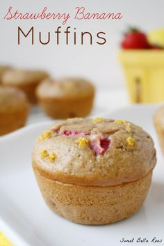 Strawberry Banana Muffins- moist and delicious. Perfect for breakfast on the go! #breakfast #recipe