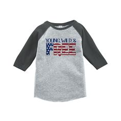 Custom Party Shop Youth Young Wild Free 4th of July Grey Baseball Tee 5T