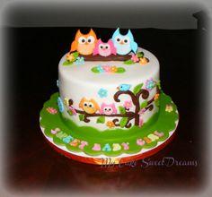 Hooooo will I look like?  Happy Tree Baby Shower Cake - Strawberry Cake