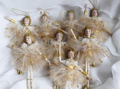 8 Shabby Victorian Doll Dancer Ballerina Ornaments Shabby Christmas Tree Decor