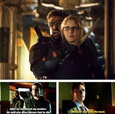 "Arrow -- ""Unthinkable"" -- Image -- Pictured (L-R): Stephen Amell as The Arrow, Manu Bennett as Slade Wilson, and Emily Bett Rickards as Felicity Smoak Arrow Cw, Arrow Oliver, Team Arrow, Arrow Slade, Arrow Tv Series, Cw Series, Deathstroke, Stephen Amell, Finals"