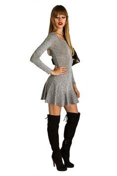 Kendall Fit & Flare Mini Dress - Grey