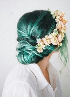 teal hair. flower crown.