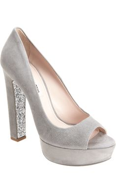 Miu Miu Glitter Embellished Peep Toe Pump #bridal #shoes