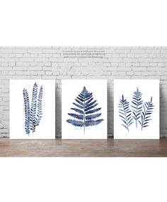 Fern Botanical Leaf Clipart Navy Watercolor Painting, Ferns set 3 Art Prints, Blue Kitchen Decor Leaves Painting, Minimalist Abstract Poster