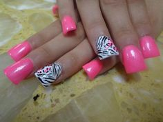I like the hot pink with zebra but don't like how flared these nails are