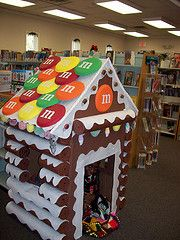 Linda made a 'log cabin' gingerbread playhouse at the Wendell library...so much fun!!