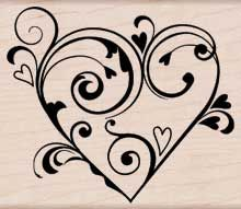 zHero Arts Fancy Hearts Rubber Stamp