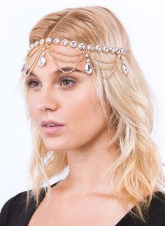 Dazzle Me Bejeweled Head Chain GOLD SILVER - GoJane.com