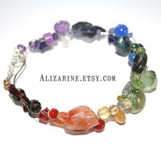Over the Rainbow - gemstone and guitar string bracelet by Strung-Out Recycled Guitar String Jewelry