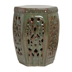 Hexagon garden stool with classic lattice design. Use as a decorative accent indoors or outdoors. Perfect as a stool, side table or outdoor patio accessory. With a seaweed glaze. Spanish Revival, One Tree, Tabletop, Lattice Garden, Ceramic Garden Stools, Ceramic Stool, Ceramic Art, Asian Garden, Chinese Garden