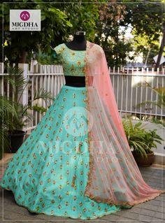 Half Saree Lehenga, Green Lehenga, Silk Lehenga, Bridal Lehenga, Sarees, Half Saree Designs, Lehenga Designs, Designer Gowns, Indian Designer Wear