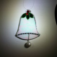 Stained Glass Christmas Bell Ornament Holly by BluePearEmporium