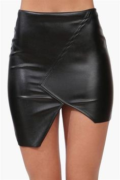 On the Zip-Side Black Vegan Leather Asymmetrical Skirt | Skirts ...