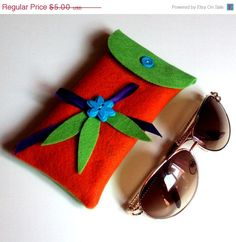 ON SALE Orange and lime colored felt eyeglasses case by NezDesigns, $3.75