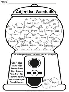 Nouns are Sweet Activities & Anchor Chart Common Core Aligned Adjectives Activities, Grammar Activities, English Activities, Teaching Activities, Adjectives For Kids, English Resources, Types Of Nouns, Nouns And Verbs, Verb Tenses