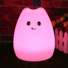 Rechargeable Silicone 7 Colorful Cute Cat Animal USB LED Night Light Lamp + Remote Control