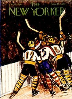 vintage New Yorker magazine Ice Hockey game