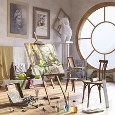 models: Other decorative objects - Artist's Workshop Art Studio Room, Art Studio Design, Art Studio At Home, Home Art, Artist Workshop, Artist Aesthetic, Art Studio Organization, Futuristic Art, Fashion Room
