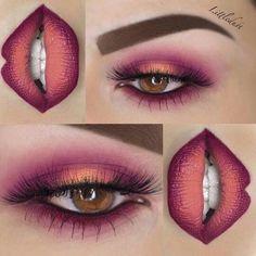 Ombré eyes & lips makeup inspiration
