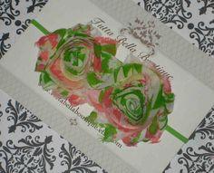 Rosa e verde do bebê headband, Primavera Floral Flower headband, Baby Laço de Cabelo, Baby Bow, Criança Faixa de Cabelo, Faixa de recém-nascido