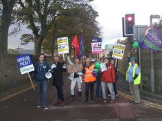 Workers from Aberdeen University striking for fair pay in higher education, on 31 October 2013.