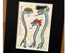 Women Can Be Snakes  Ink and Watercolor Painting by treiops