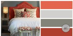 Coral, light gray, dark gray and cinnamon.