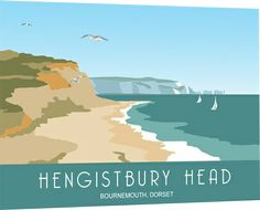 Modern Picture of Hengistbury Head drawn by Nigel Wallace in Railway Poster style Posters Uk, Railway Posters, Poster Prints, Art Prints, British Travel, British Seaside, British Isles, Portsmouth, Modern Pictures