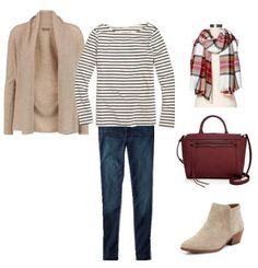 Create a Capsule Wardrobe: 15 Outfits!  Taupe cardigan - striped top - jeans
