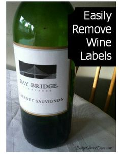 Place wine bottle in a 350 degree oven for 10 minutes and the label should come off easily.
