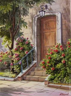 Aquarell_Stadt_Stadtkunst_Aquarell _Blumen am Haus_ Siehe . Landscape Art, Landscape Paintings, Art Watercolor, Southwest Art, Painted Doors, Sacred Art, House Painting, Painting Inspiration, Art Drawings