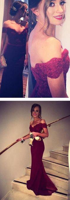 Mermaid Burgundy prom dress,Off-the-Shoulder Chiffon prom dresses,Lace Prom/Evening Dress