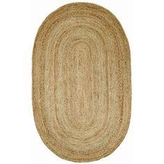 Beachcrest Home Latham Rigo Jute Hand-Woven Natural Area Rug Rug Size: Oval 8' x 10'
