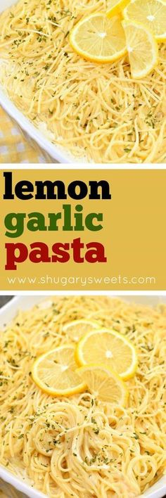 You'll love this tangy, Lemon Garlic Pasta as a side dish with your favorite chicken or fish! Or enjoy it as your main entree in under 30 minutes! #pasta #lemon