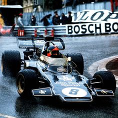 Emersen Fittipaldi at the wheel of the Lotus 72 at Monaco. Emersen came 2nd in 1973 and 1975  but never won the race.