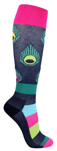 Kuviolliset tukisukat. Tummanharmaa sukka jossa tehosteena kauniit kirkkaat värisävyt. Sukissa on kevyt tuki ja ne soveltuvat päivittäiseen käyttöön.