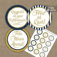 Retirement Toppers - Navy Blue Gold