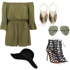 Untitled #253 by sophia-solzbacher on Polyvore featuring polyvore moda style Topshop Gianvito Rossi Panacea Ray-Ban River Island