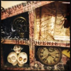 Wooden Configuration Box, close up, steam punk, journey, engraver style, altered Art, mixed media