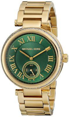 Michael Kors Skylar Emerald Green Dial Gold-tone Ladies Watch MK6065