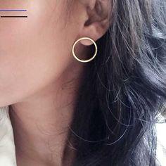 Karen Open Circle Earrings Studs - Medium Minimalist Circle Studs - Sterling Silver Earrings, Gold Vermeil, Rose Gold Vermeil - List of the best jewelry Circle Earrings, Crystal Earrings, Statement Earrings, Sterling Silver Earrings, Diamond Earrings, Rose Necklace, Dainty Earrings, Black Earrings, Silver Jewelry