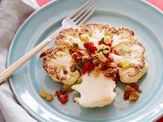 Roasted Cauliflower Steaks with Raisin Relish Recipe : Food Network Kitchen : Food Network - FoodNetwork.com