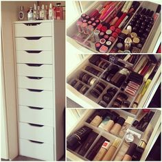 ALEX Drawer unit with 9 drawers white IKEA is part of Ikea makeup storage - IKEA ALEX, Drawer unit with 9 drawers, white, , High unit with many drawers means plenty of storage on minimum floor space Drawer stops prevent the drawer from Ikea Makeup Storage, Makeup Organizing Hacks, Makeup Drawer Organization, Organization Hacks, Storage Hacks, Furniture Storage, Make Up Storage Ikea, Bathroom Organization, Beauty Storage Ideas