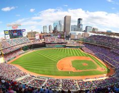 MN Twins Target Field with Downtown Minneapolis, MN Skyline View